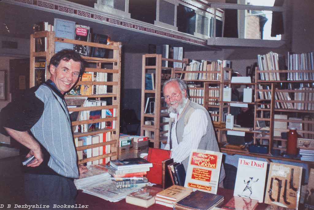 Geoff Milburn buying mountaineering books from Bill Derbyshire at the Settle Book Fair held Saturday, 30th April 1994 | Photograph taken by W. F. (Bill) Astbury, organiser Yorkshire Book Fairs