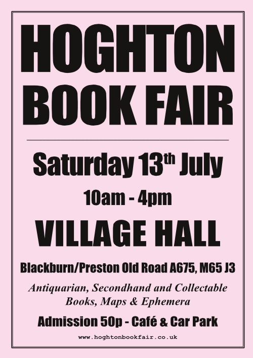 Hoghton Book Fair | Saturday, 13th July 2019 | Hoghton Village Hall, Preston PR5 0SG
