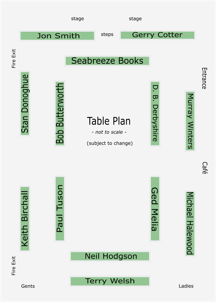 Table Plan | Hoghton Book Fair | Saturday, 13th July 2019 | Hoghton Village Hall, Preston PR5 0SG